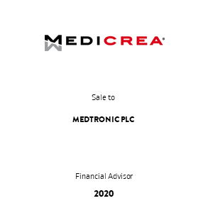 Tombstone Medicrea Medtronic Transaction 2020 en